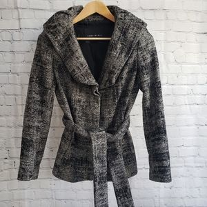 Zara Black & Gray Winter Peacoat Jacket Small